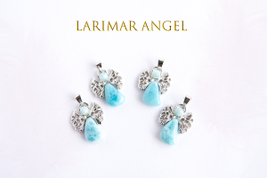 ラリマーの天使ペンダントトップ・各1個 天然石プリズム